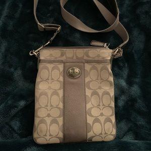 Silver/gray Coach Crossbody bag
